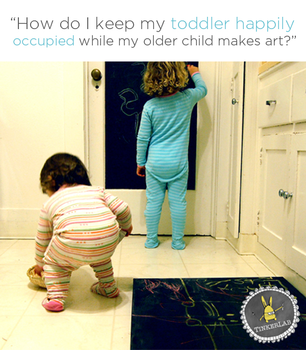 Lots of good ideas here! How do I keep my toddler happily occupied while my older child makes art? | TinkerLab.com