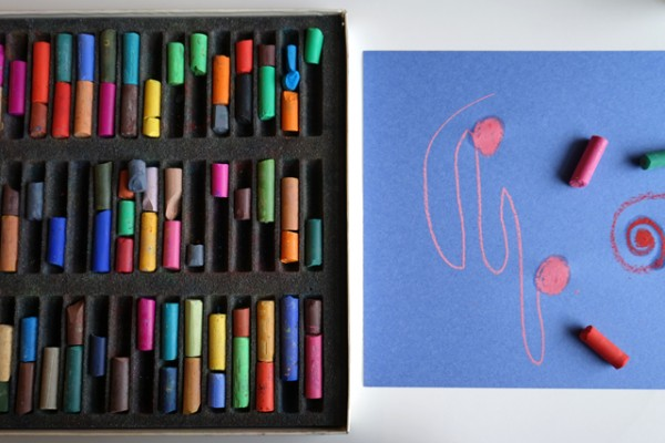 Creative Table: and invitation to create with Chalk pastels and water