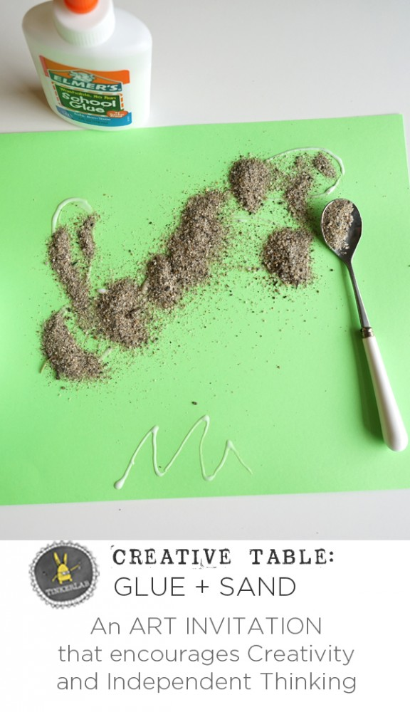 creative table with glue and sand tinkerlab