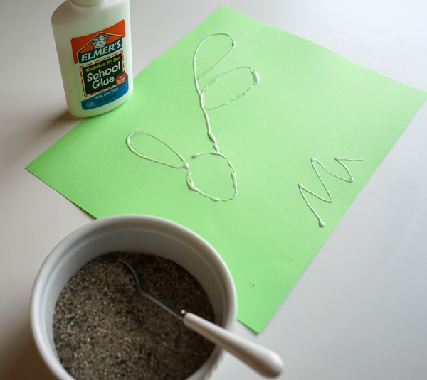 An easy Art Invitation with Glue and Sand that encourages creativity and independent thinking |  From the Creative Table Series | TinkerLab