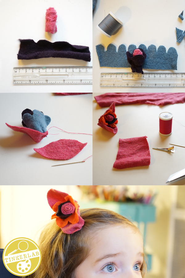 How to an old wool sweater and turn it into flowers | TinkerLab