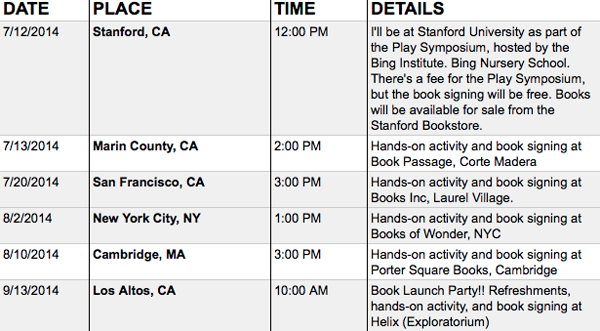 TinkerLab Book Tour Dates