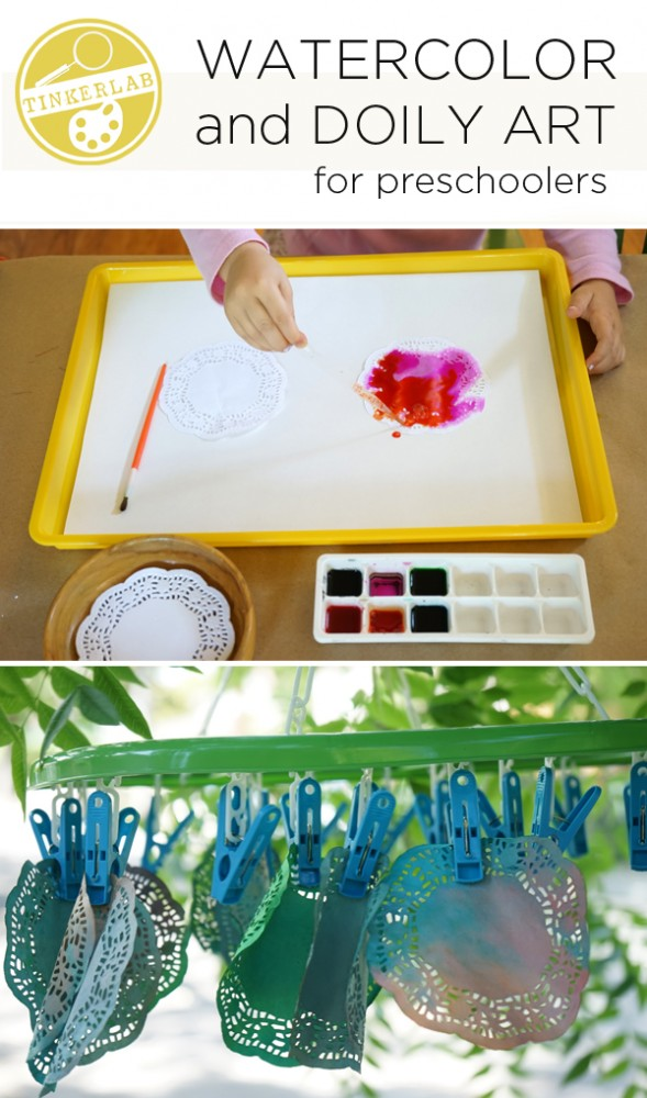 Easy Watercolor and Doily Art for Preschoolers | Tinkerlab
