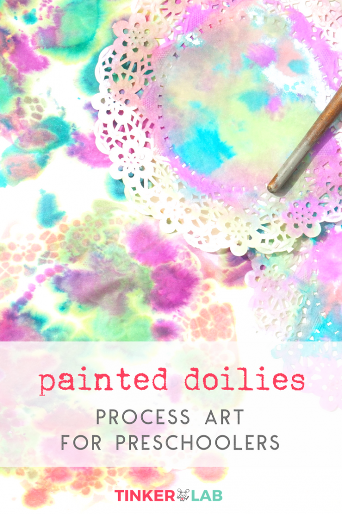 Doily painting process art project for preschoolers tinkerlab this project like so many others that youll find on tinkerlab is process based its set up as an invitation to create meaning that the materials are stopboris Choice Image