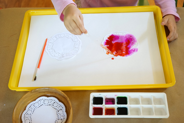 Easy Watercolor and Doily Art | TinkerLab
