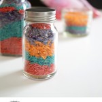 Layered Rainbow Colored Rice Jars