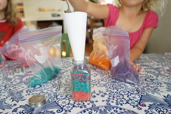 Preschool Art: Colored Rice
