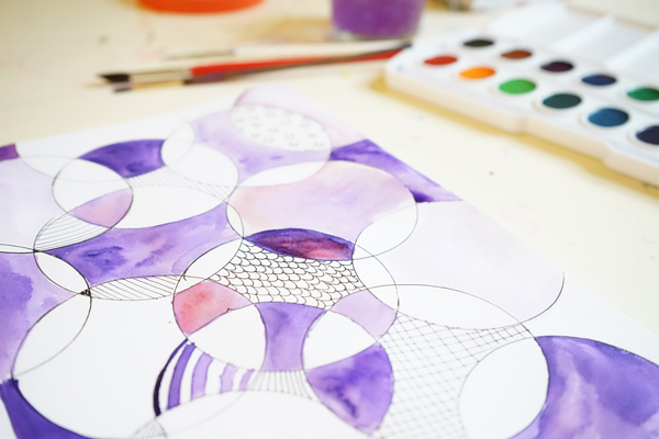 Circles and Watercolor Paint | A Simple Sketchbook Prompt | TinkerLab