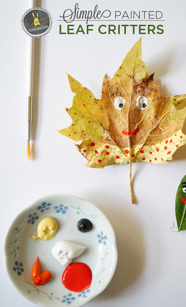 Adorable leaf critters, the perfect Fall art activity.