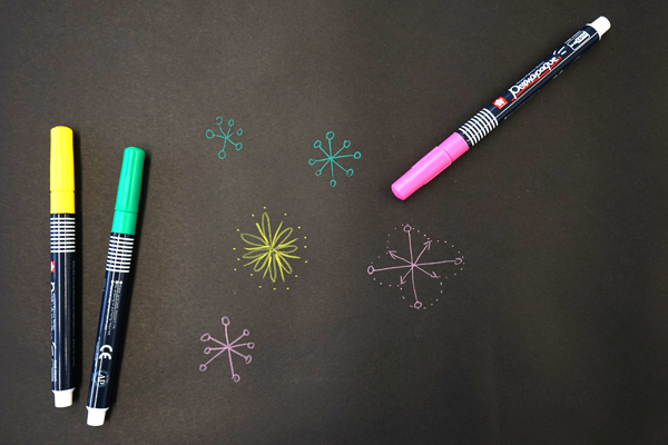Art Prompts | Paint markers on black paper creativity prompt | TinkerLab.com