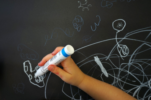 Art Prompts: White Marker on Black Paper Creativity Booster for Kids | TinkerLab.com