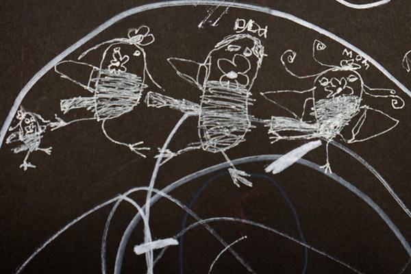 White marker on black paper creativity prompt | TinkerLab.com