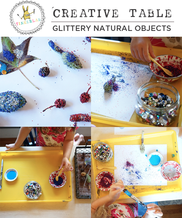 Easy Art Prompt to Make Glittery Natural Objects | TinkerLab.com