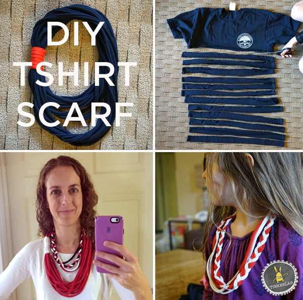 This easy, no-sew t-shirt scarf comes together in a matter of minutes, and only cost me about $2 to make. If you already have a t-shirt, consider it FREE!