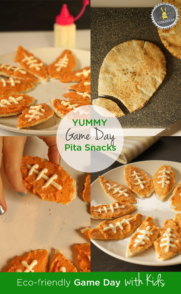 Make these kid-friendly game day snacks with pita bread, hummus, and light mayo. My kids gobbled these up. @Hellmanns