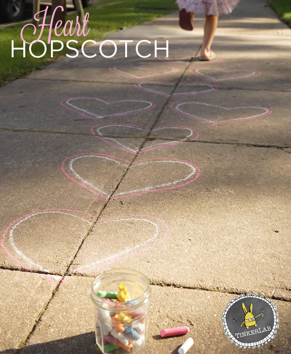 Valentines Day Activity for Preschoolers | Heart Hopscotch | TinkerLab.com
