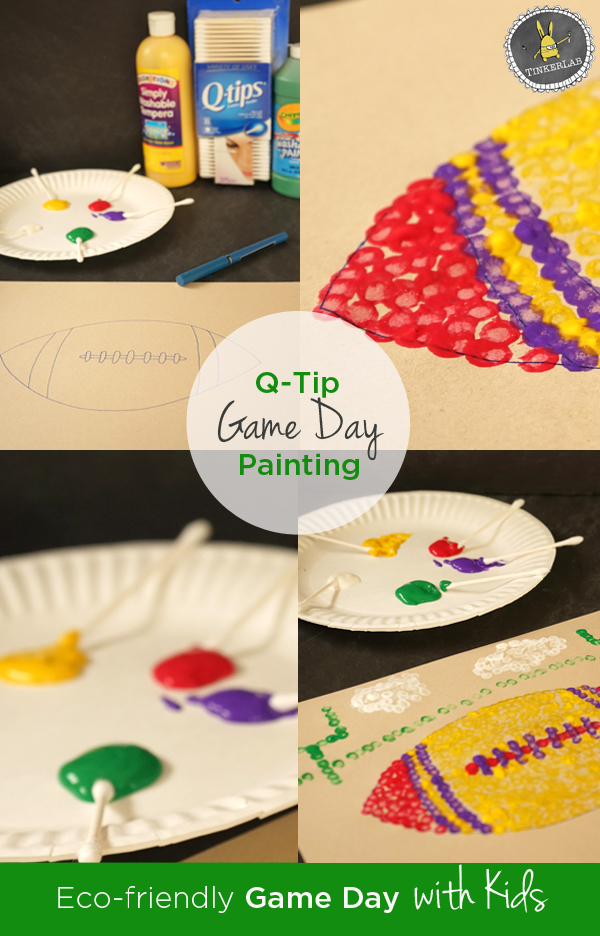 Give the kids something fun to do on game day by setting up this fun and simple football painting activity with Q-tips @Q-Tips