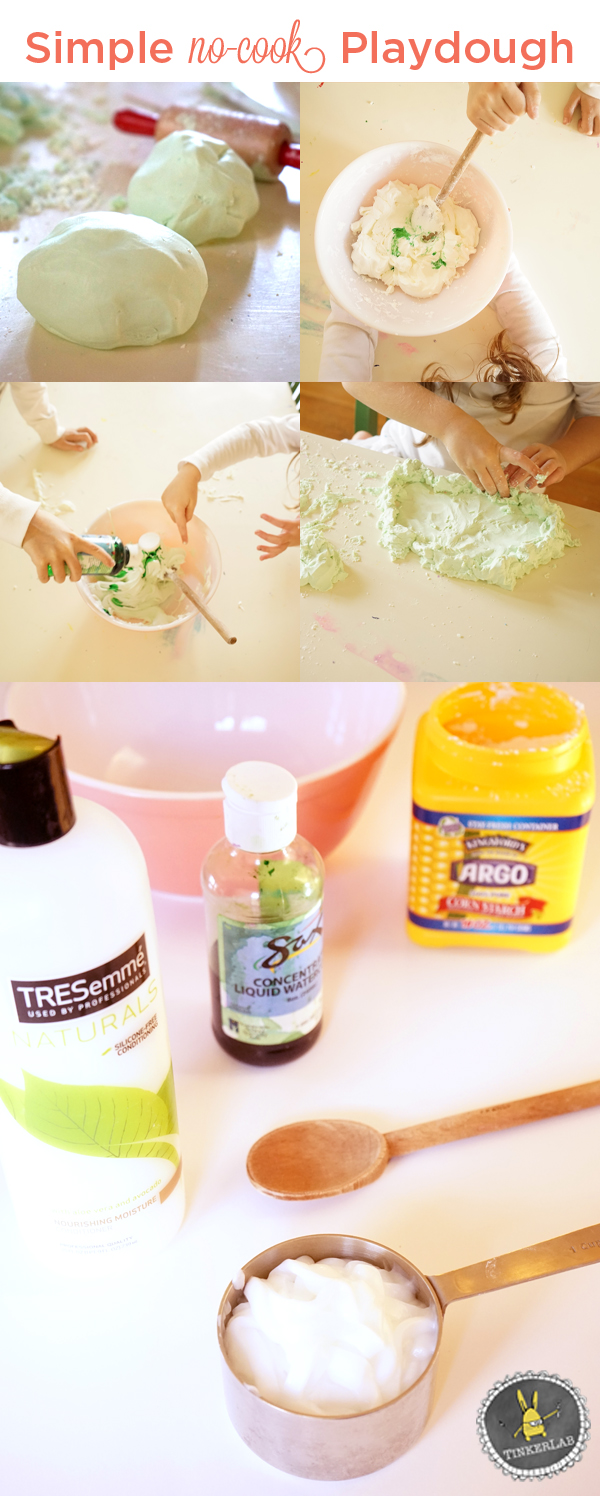 This Easy No Cook Playdough is made with hair conditioner and corn starch (aka corn flour). It comes together quickly and encourages imaginative play - awesome stuff! |TinkerLab.com