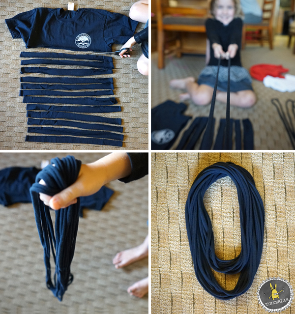 the no sew t shirt scarf tinkerlab. Black Bedroom Furniture Sets. Home Design Ideas