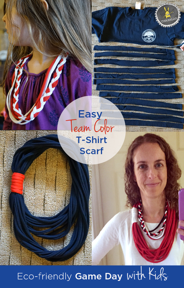 Make this easy game day scarf or necklace to match your favorite team's colors...all from unused t-shirts! Best part of it? They come together in a matter of minutes and don't cost very much to make.