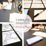 One minute drawings collage text