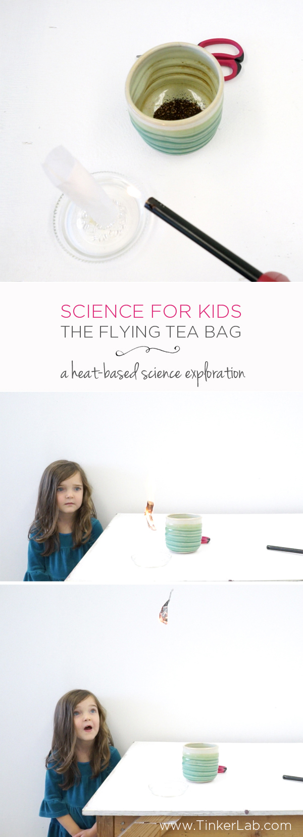 Science for kids | The simple flying tea bag exploration with materials you probably already have at home