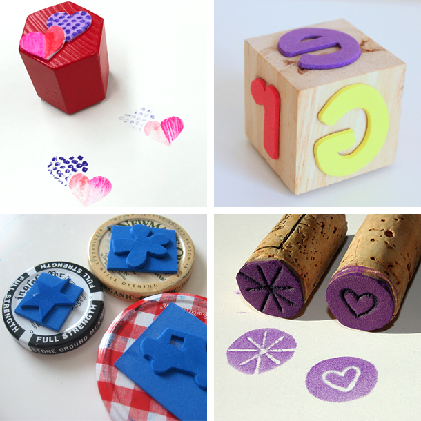 4 different DIY homemade stamps with foam