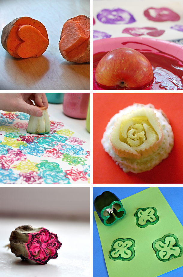DIY Stamps with food such as apples and celery