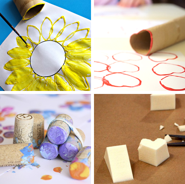 DIY Stamps with everyday materials such as cork, cardboard rolls, and buttons