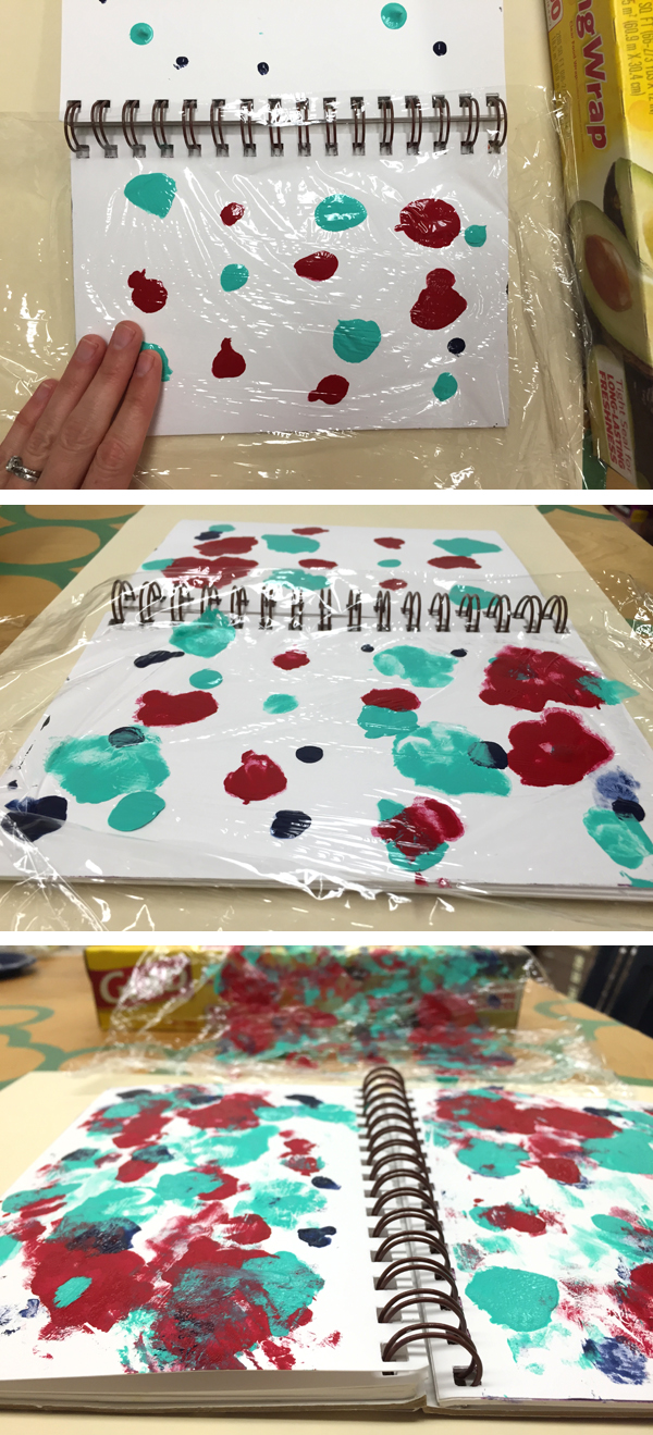 How to try the Cling Film Art Experiment with Cellophane and Acrylic Paint | TinkerLab.com