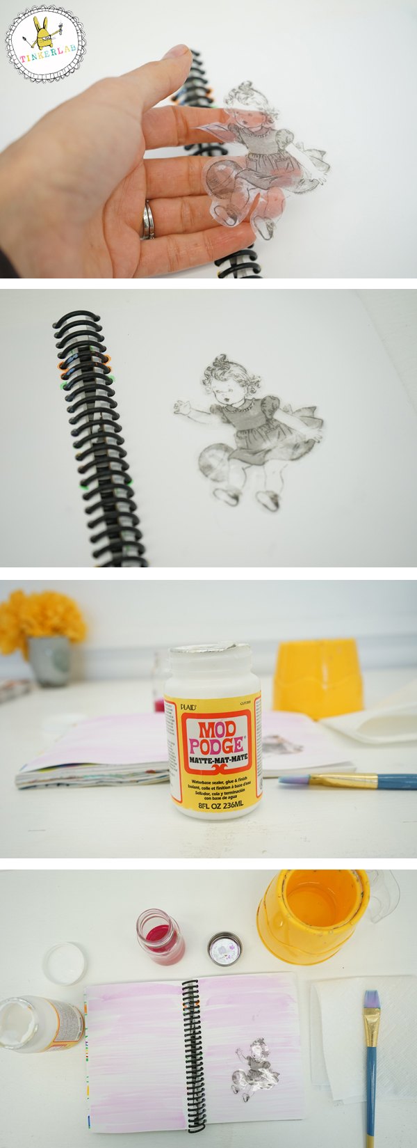 Easy clear tape image transfer technique with mod podge | TinkerLab.com