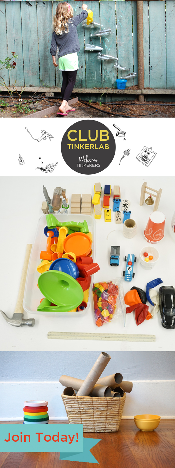 Join Club TinkerLab - an online tinkering club for people who are interested in making, inventing, tinkering, educating, and engineering with kids.