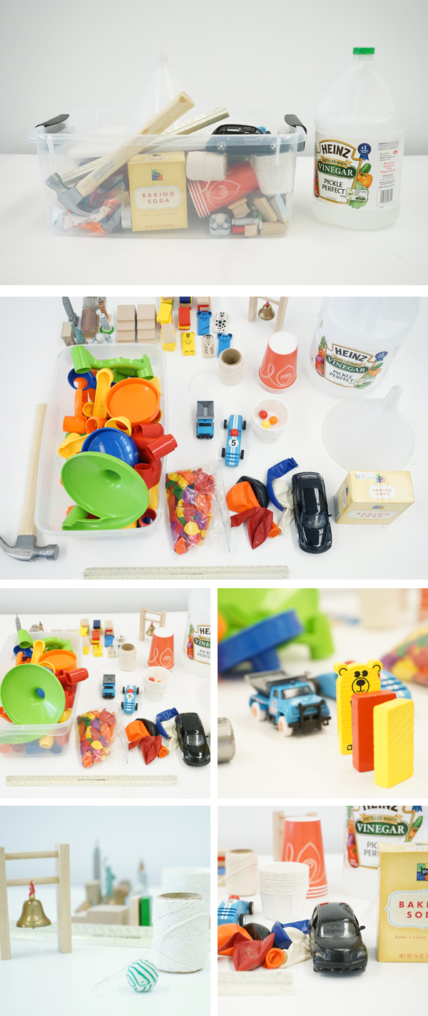 Suggested materials for building a Rube Goldberg Machine with Little Kids | TinkerLab.com