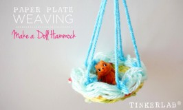 Make a paper plate weaving into a doll hammock | Kids Weaving project