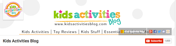 Kids Activities Blog on YouTube