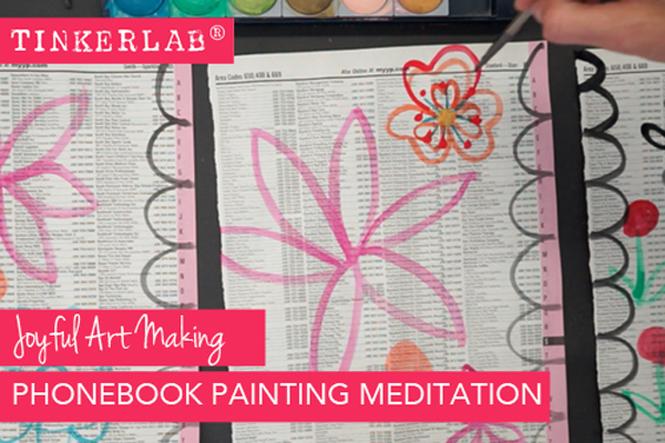 Lovely idea for relaxation through art! Paint on phonebook pages. They're free, plentiful, and free you up to experiment.