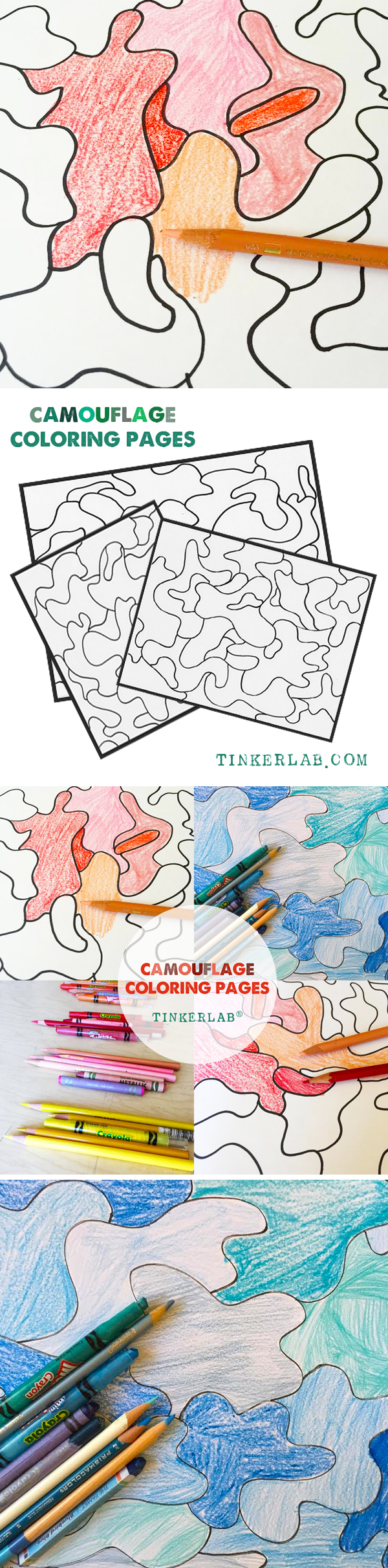 Camouflage Coloring Page Printable on TinkerLab