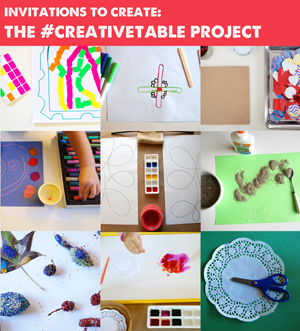 Invitations to Create with the #creativetable project on TinkerLab