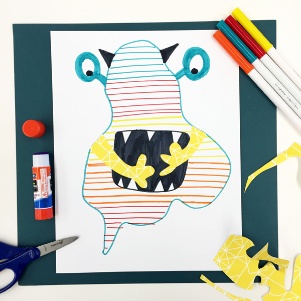 Make an art critter, art project for kids that encourages creative thinking