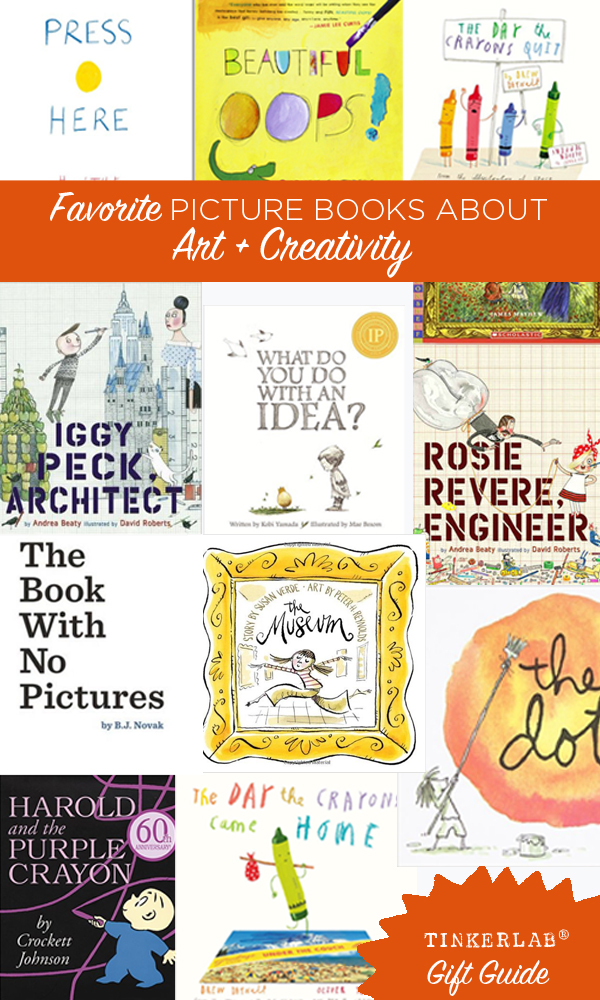 These really are the best picture books for Art and Creativity. Rosie Revere Engineer is a wonderful book for encouraging girls to follow their maker passions. And I LOVE Harold and the Purple Crayon.