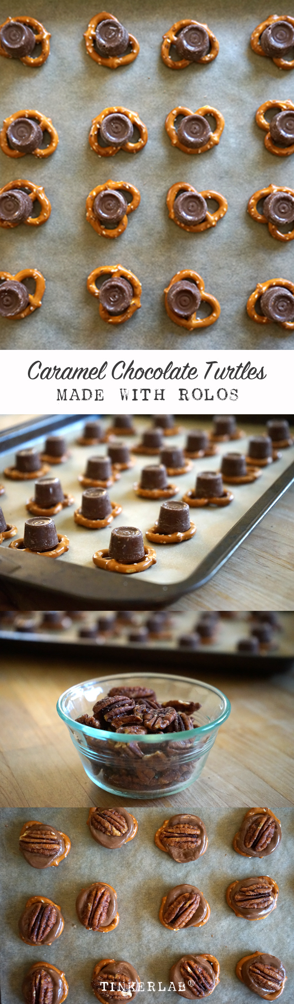 These are crazy good and so easy to make. Everyone loves them. Caramel Chocolate Rolo Turtle Recipe | TinkerLab
