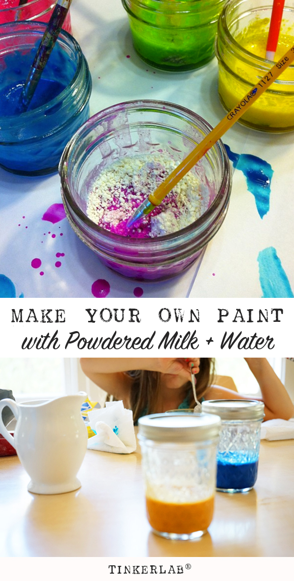 Make your own paint with powdered milk and water | TinkerLab