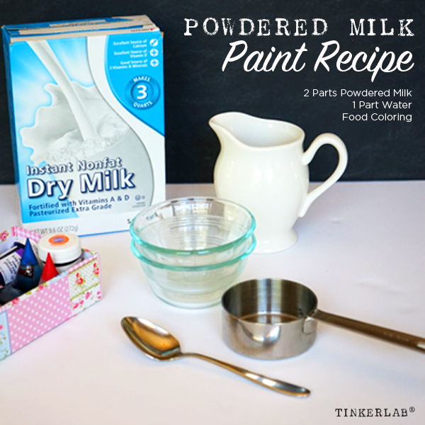 Homemade milk paint with powdered milk | TinkerLab