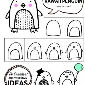 How to draw a cute penguin with kids