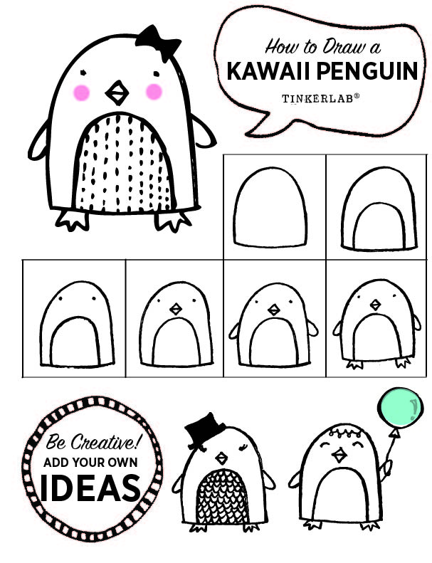 How to draw a Kawaii Penguin