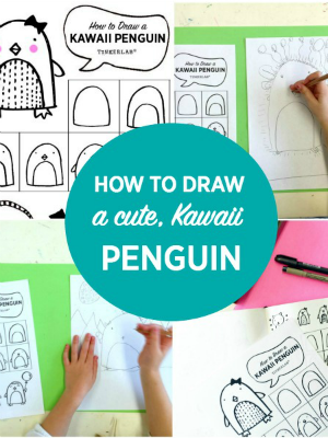 How to draw a cute kawaii penguin