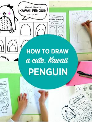 How to draw a cute kawaii penguin