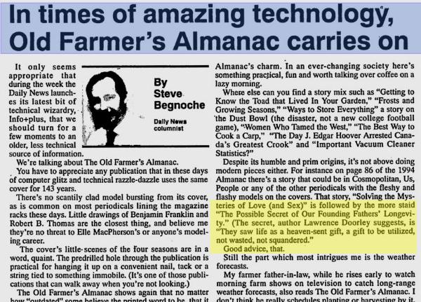 Lawrence Doorley III Farmer's Almanac