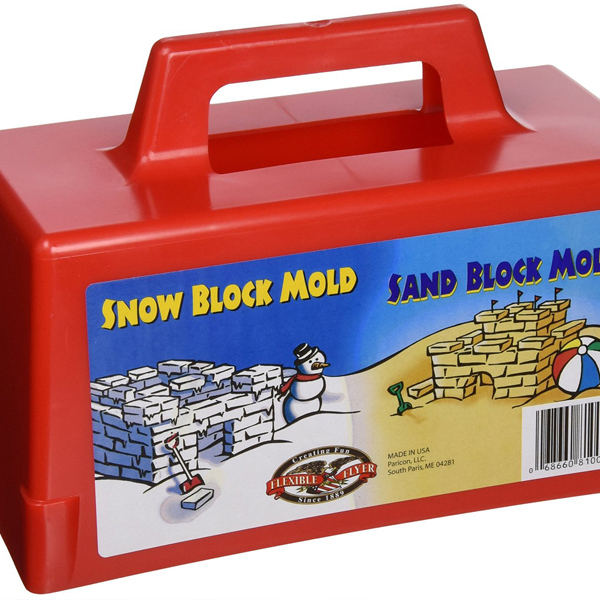Great for all seasons of snow and sand play: a Snow block mold, that can also be a sand block mold.