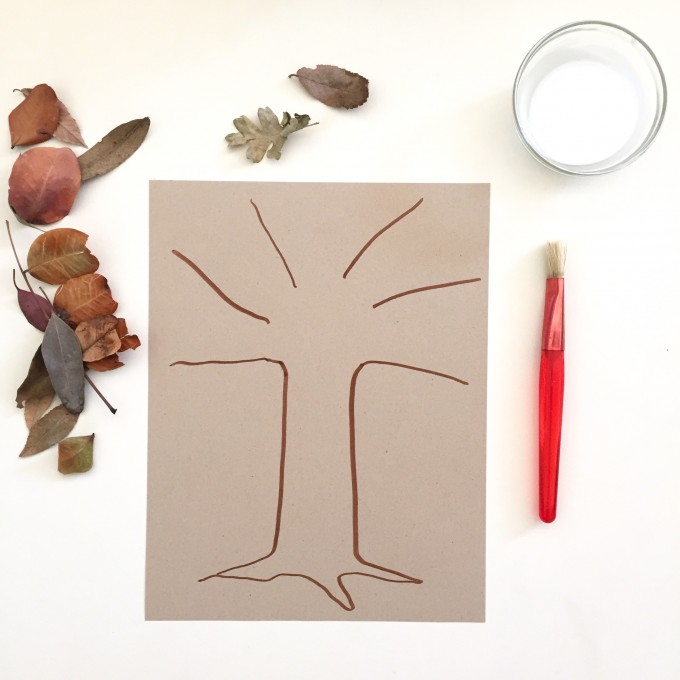 Creative Table: Tree Trunk Leaf Collage